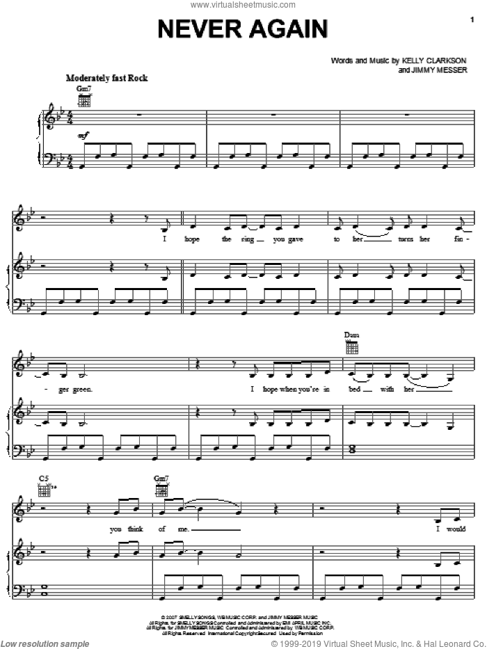 Never Again sheet music for voice, piano or guitar by Kelly Clarkson and Jimmy Messer, intermediate skill level