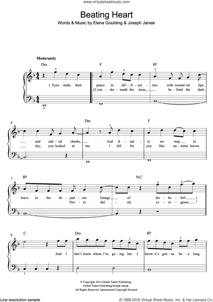 Beating Heart sheet music for piano solo (beginners) by Ellie Goulding and Joseph Janiak, beginner piano (beginners)