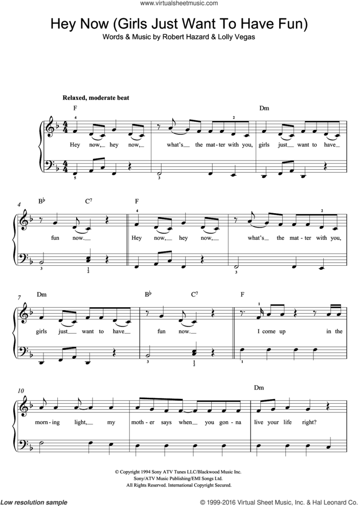 Girls Just Want To Have Fun sheet music for piano solo (beginners) by Cyndi Lauper, Lolly Vegas and Robert Hazard, beginner piano (beginners)