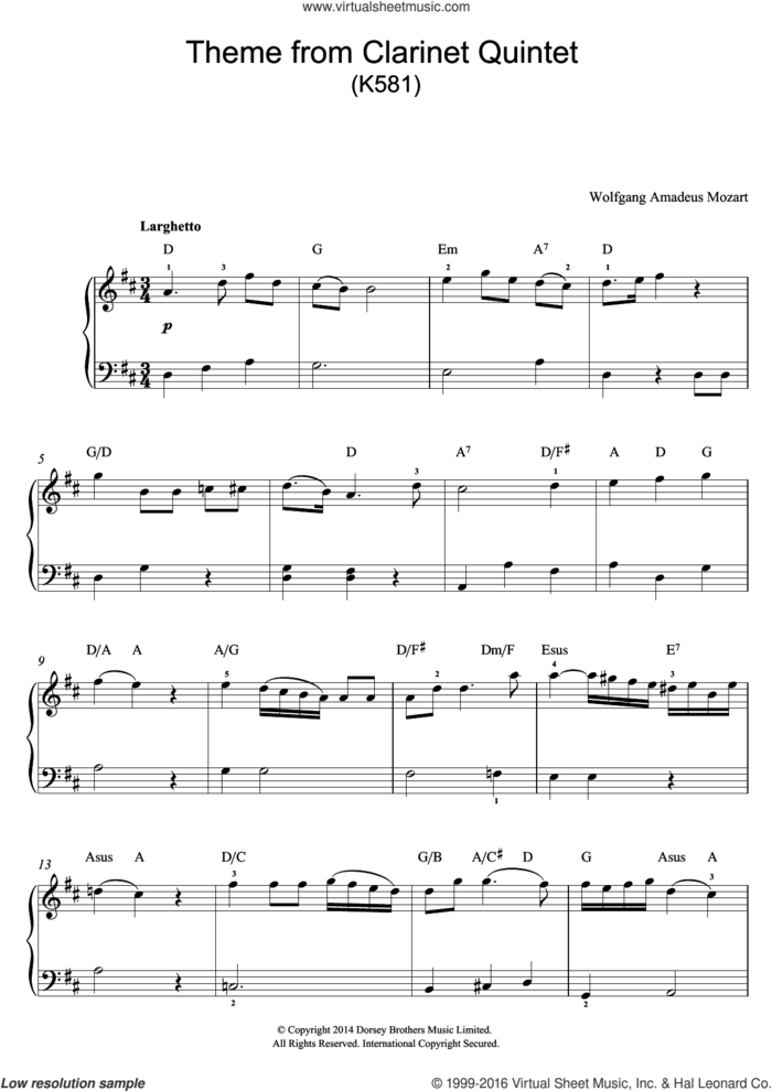 Theme From Clarinet Quintet, K581 sheet music for piano solo (beginners) by Wolfgang Amadeus Mozart, classical score, beginner piano (beginners)