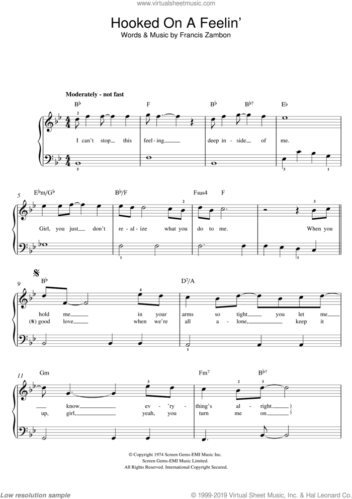 Hooked On A Feeling sheet music for piano solo (beginners) by Blue Swede and Francis Zambon, beginner piano (beginners)