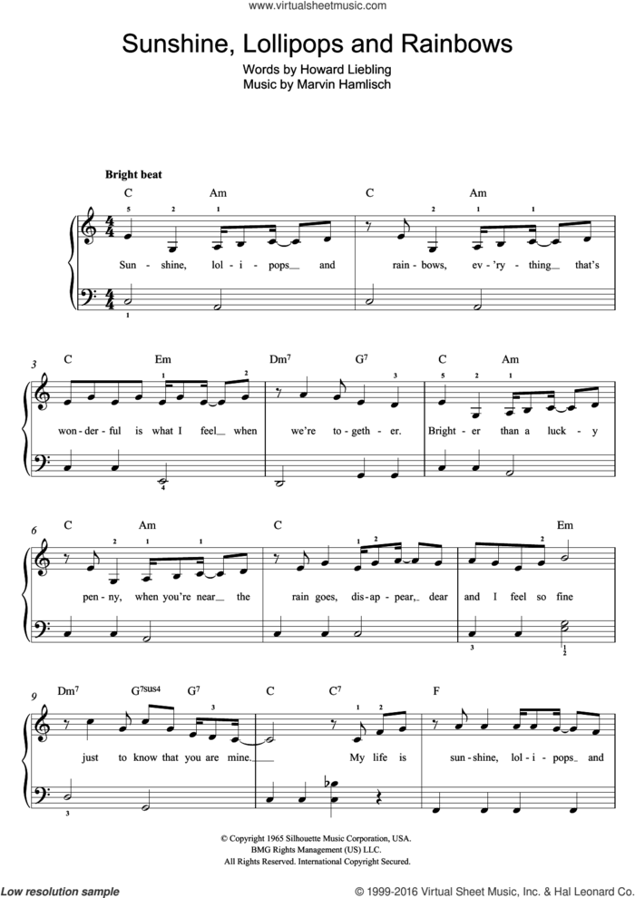 Sunshine, Lollipops And Rainbows sheet music for piano solo (beginners) by Lesley Gore, Howard Liebling and Marvin Hamlisch, beginner piano (beginners)