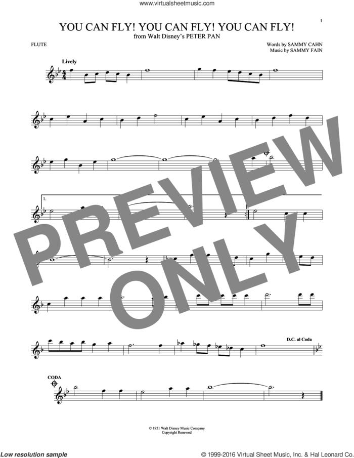 You Can Fly! You Can Fly! You Can Fly! sheet music for flute solo by Sammy Cahn and Sammy Fain, intermediate skill level