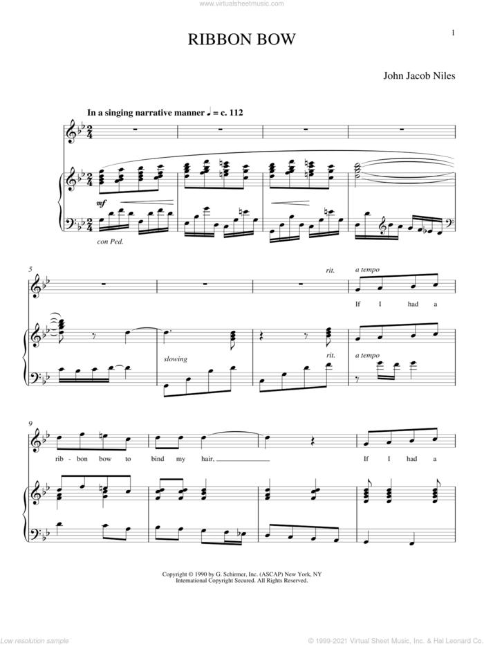 Ribbon Bow sheet music for voice and piano (Soprano) by Joan Frey Boytim and John Jacob Niles, classical score, intermediate skill level
