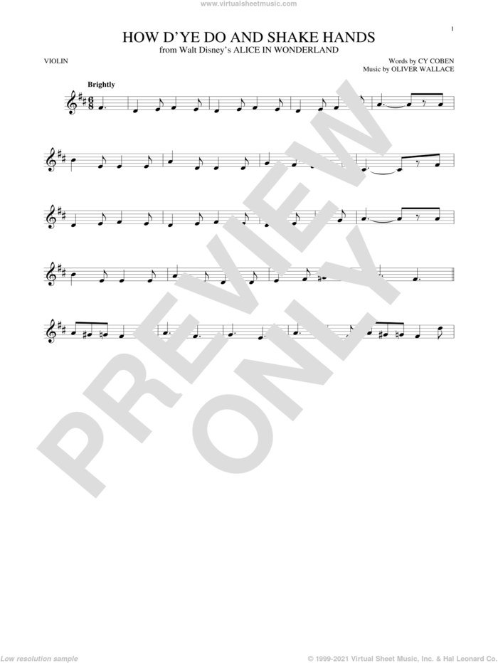 How D'ye Do And Shake Hands sheet music for violin solo by Cy Coben and Oliver Wallace, intermediate skill level