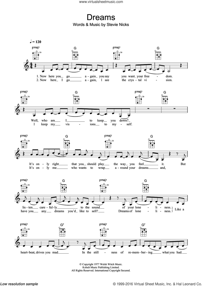 Dreams sheet music for ukulele by Fleetwood Mac, The Corrs and Stevie Nicks, intermediate skill level