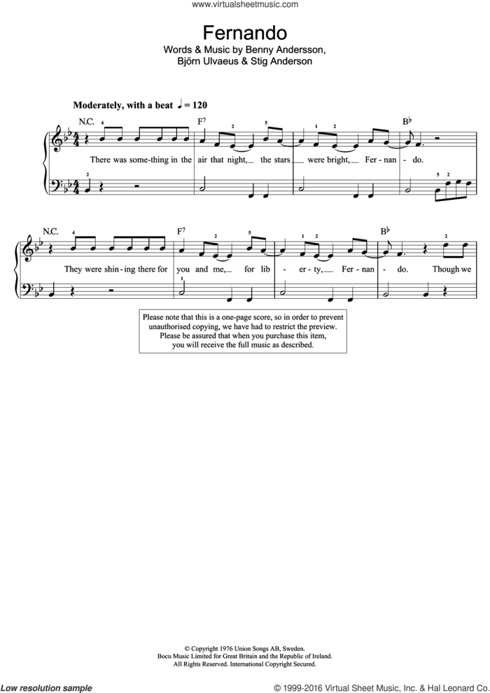Fernando sheet music for piano solo (beginners) by ABBA, Benny Andersson, Bjorn Ulvaeus and Stig Anderson, beginner piano (beginners)