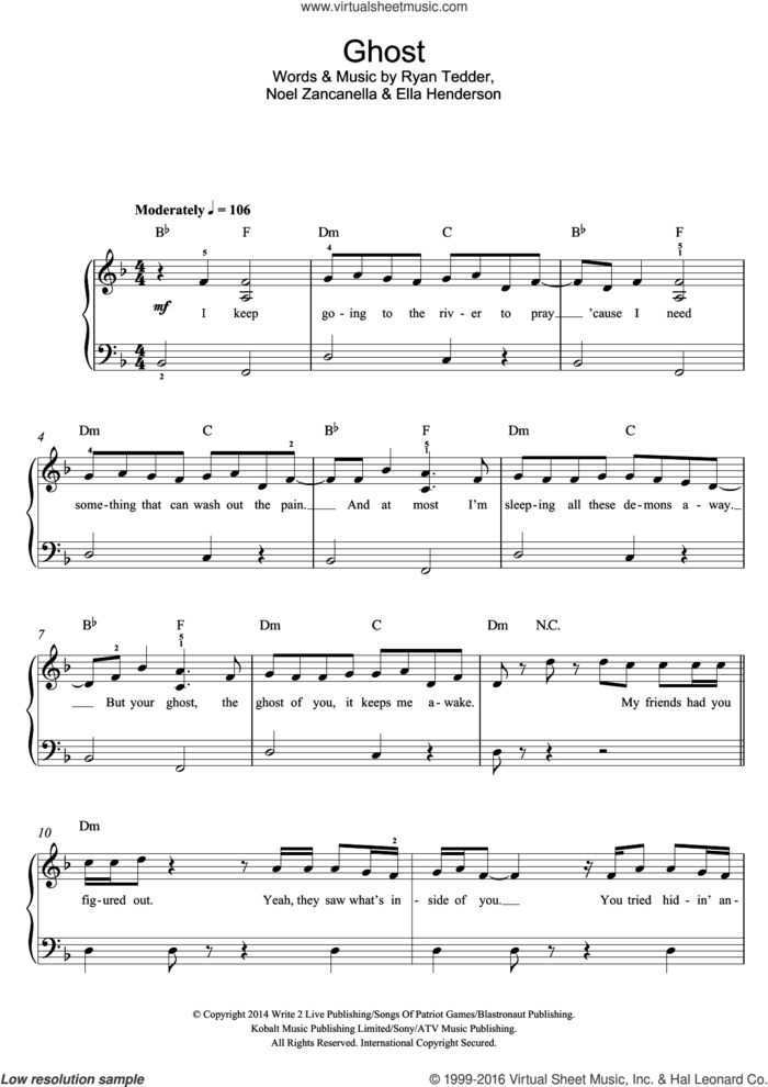 Ghost sheet music for piano solo (beginners) by Ella Henderson, Noel Zancanella and Ryan Tedder, beginner piano (beginners)