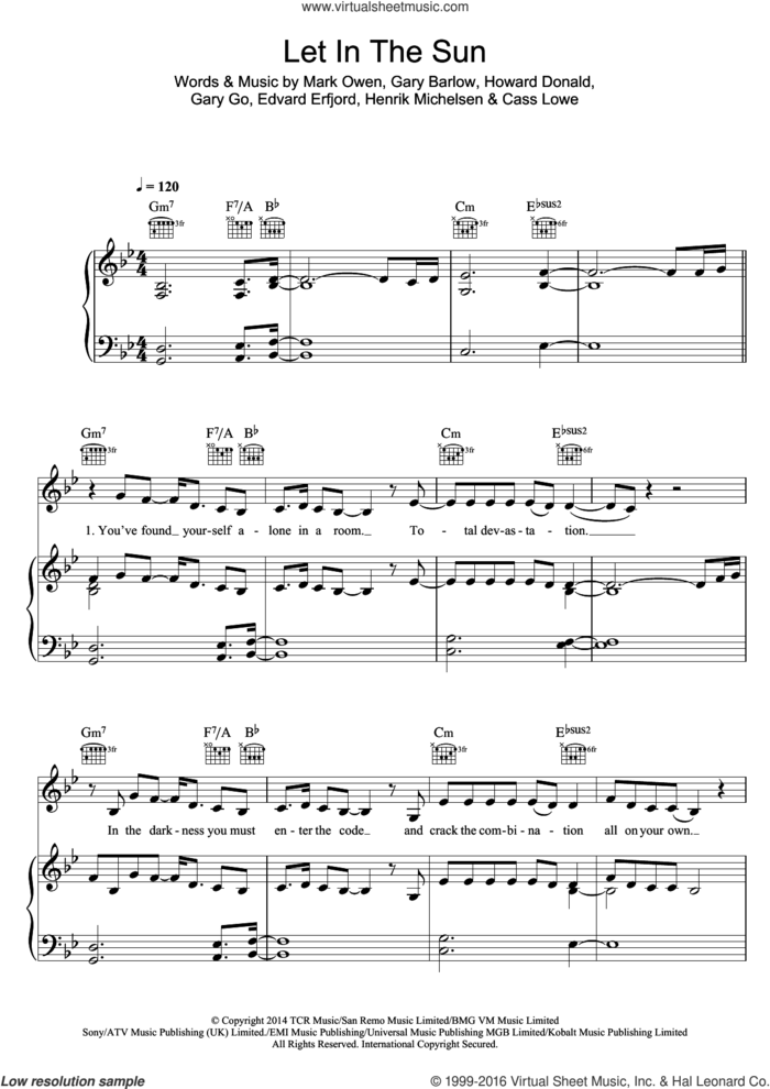 Let In The Sun sheet music for voice, piano or guitar by Take That, Cass Lowe, Edvard Erfjord, Gary Barlow, Gary Go, Henrik Michelsen, Howard Donald and Mark Owen, intermediate skill level