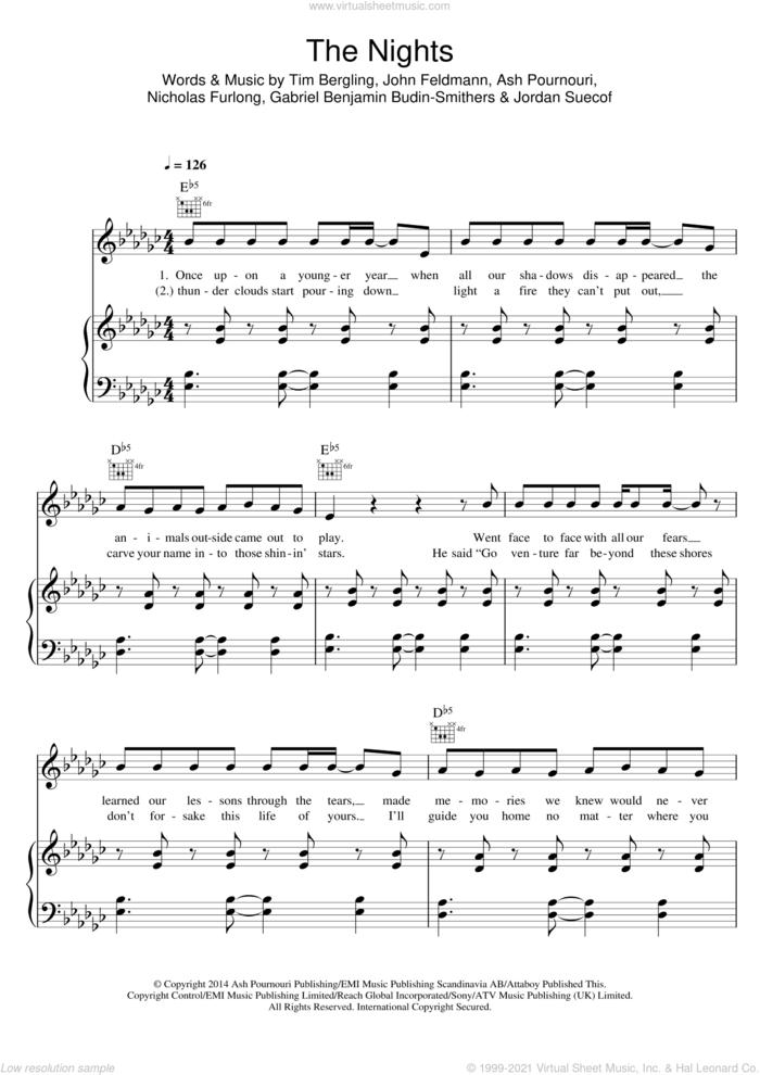 The Nights sheet music for voice, piano or guitar by Avicii, Ash Pournouri, Gabriel Benjamin Budin-Smithers, John Feldmann, Jordan Suecof, Nicholas 'RAS' Furlong and Tim Bergling, intermediate skill level