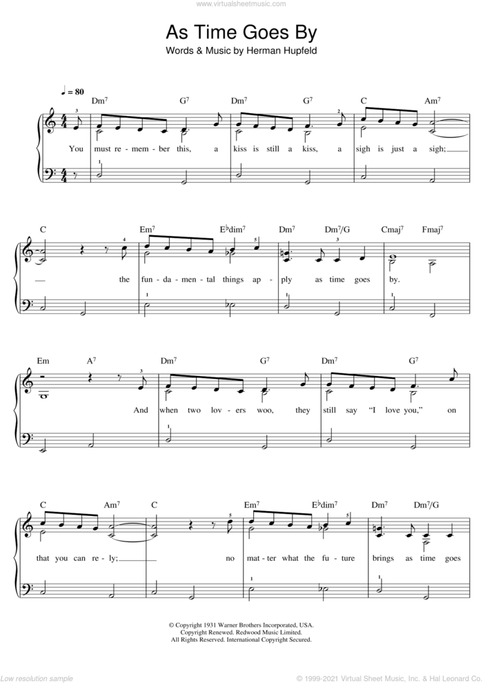 As Time Goes By sheet music for piano solo (beginners) by Herman Hupfeld, Dooley Wilson and Rod Stewart, beginner piano (beginners)