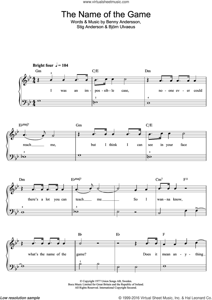 The Name Of The Game sheet music for piano solo (beginners) by ABBA, Benny Andersson, Bjorn Ulvaeus and Stig Anderson, beginner piano (beginners)