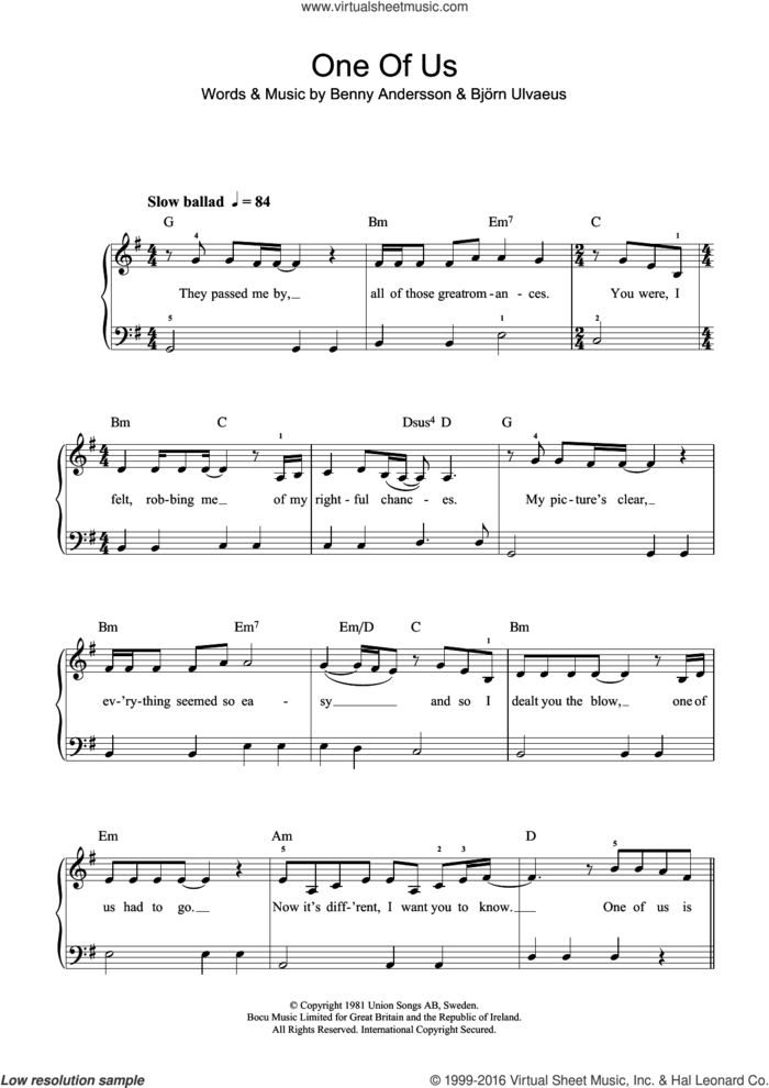 One Of Us sheet music for piano solo (beginners) by ABBA, Benny Andersson and Bjorn Ulvaeus, beginner piano (beginners)