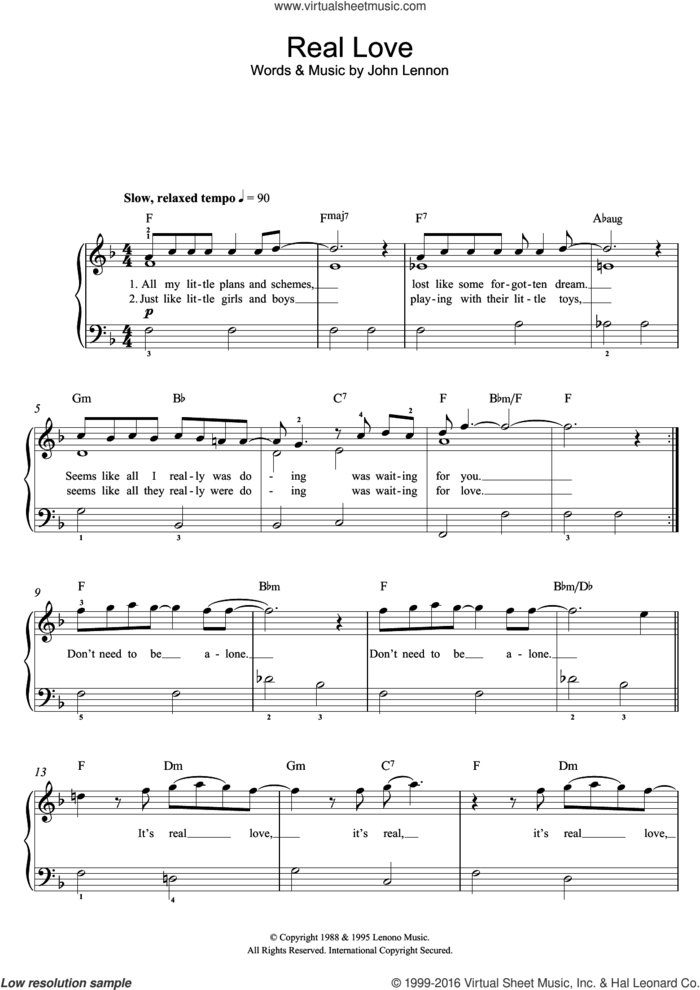 Real Love sheet music for piano solo (beginners) by Tom Odell and John Lennon, beginner piano (beginners)