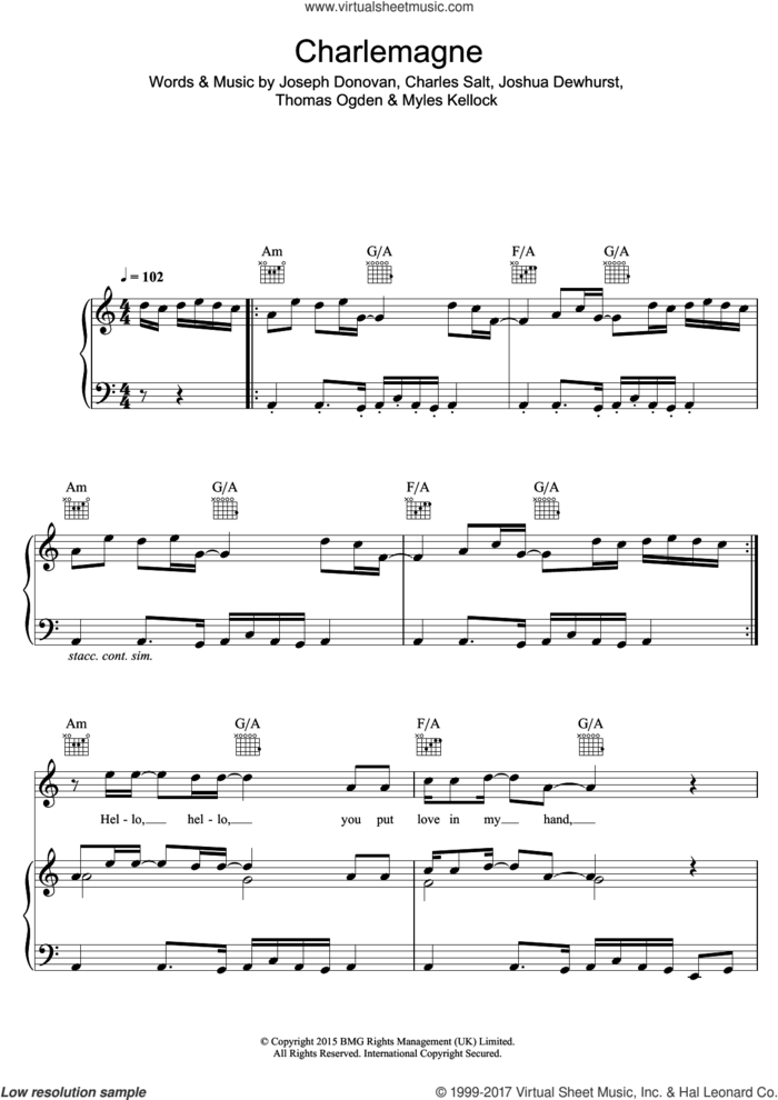 Charlemagne sheet music for voice, piano or guitar by Blossoms, Charles Salt, Joseph Donovan, Joshua Dewhurst, Myles Kellock and Thomas Ogden, intermediate skill level