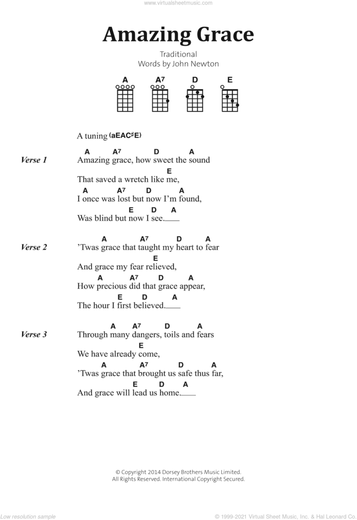 Amazing Grace sheet music for banjo solo (lyrics,chords) by John Newton and Miscellaneous, intermediate banjo (lyrics,chords)