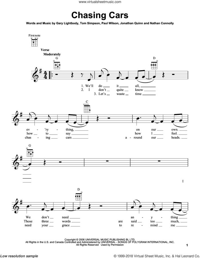 Chasing Cars sheet music for ukulele by Snow Patrol, Gary Lightbody, Jonathan Quinn, Nathan Connolly, Paul Wilson and Tom Simpson, wedding score, intermediate skill level