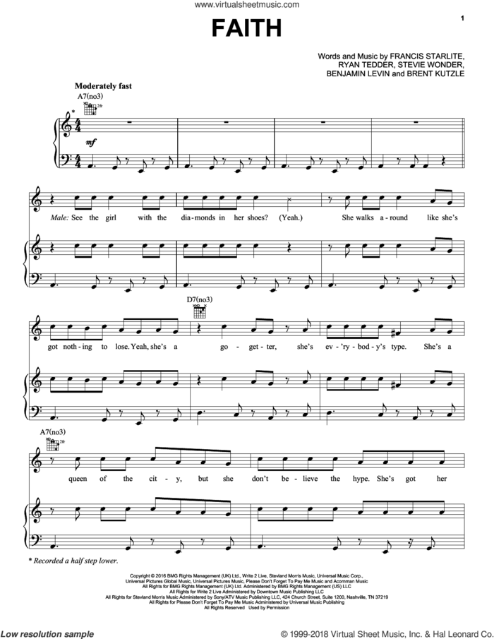 Faith sheet music for voice, piano or guitar by Stevie Wonder feat. Ariana Grande, Benny Blanco, Brent Kutzle, Francis Farewell Starlite, Ryan Tedder and Stevie Wonder, intermediate skill level