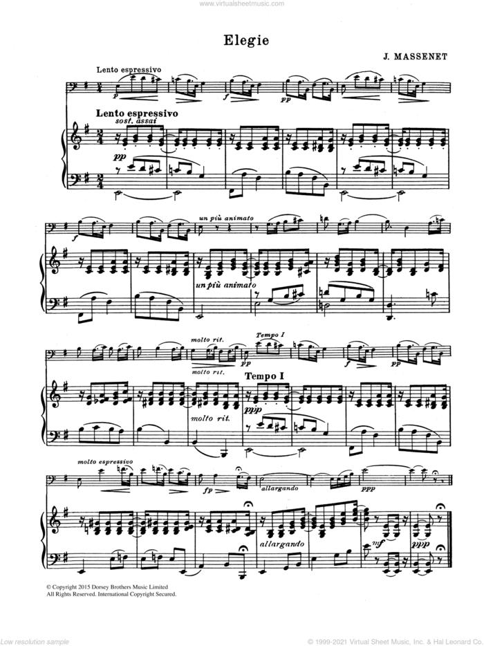 Elegie sheet music for cello solo by Jules Massenet, classical score, intermediate skill level