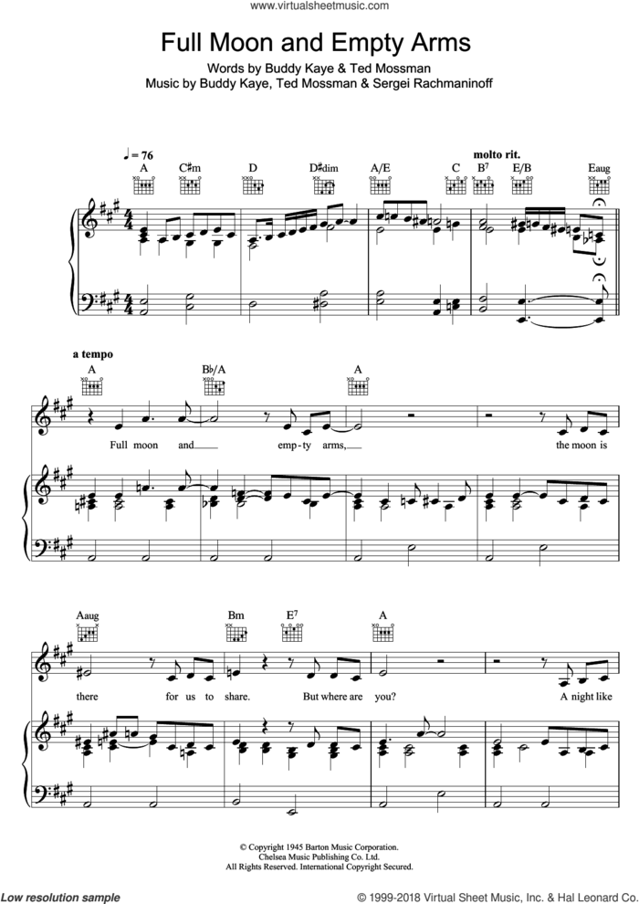 Full Moon And Empty Arms sheet music for voice, piano or guitar by Bob Dylan, Buddy Kaye, Serjeij Rachmaninoff and Ted Mossman, intermediate skill level