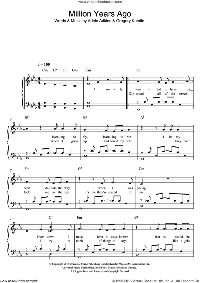 Million Years Ago sheet music for piano solo by Adele, Adele Adkins and Greg Kurstin, easy skill level