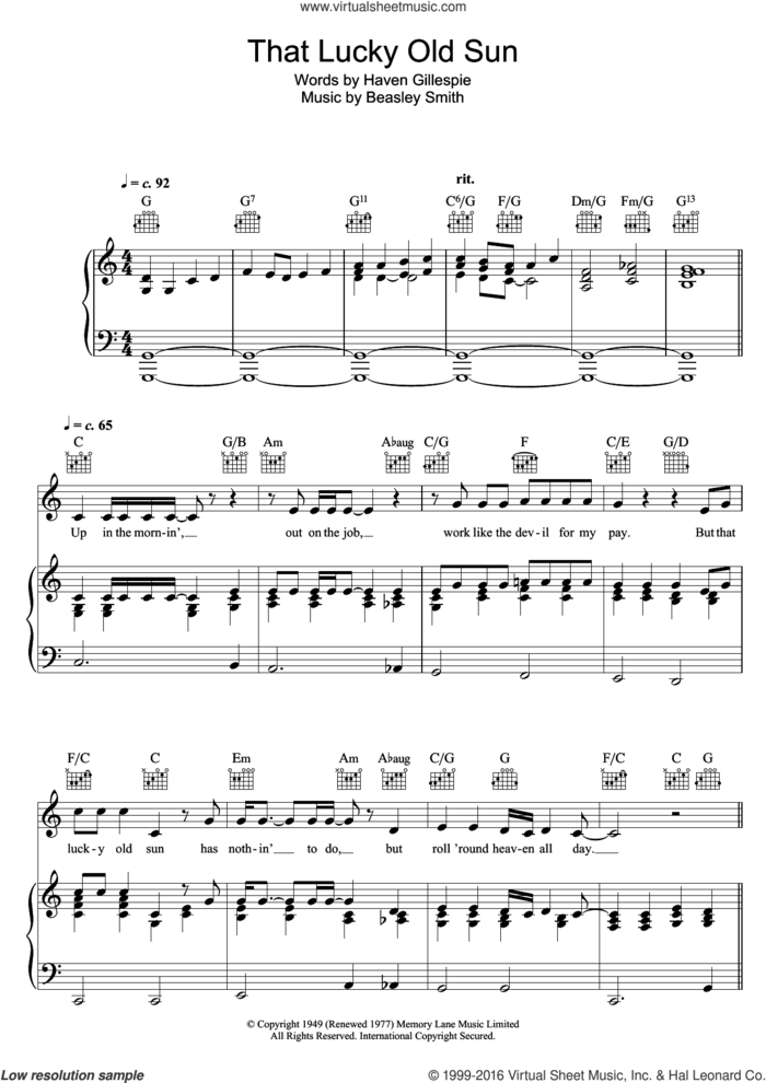 That Lucky Old Sun (Just Rolls Around Heaven All Day) sheet music for voice, piano or guitar by Bob Dylan, Beasley Smith and Haven Gillespie, intermediate skill level