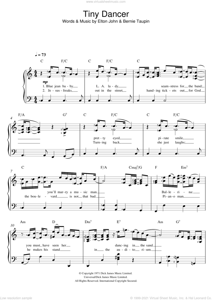 Tiny Dancer sheet music for voice and piano by Elton John and Bernie Taupin, intermediate skill level