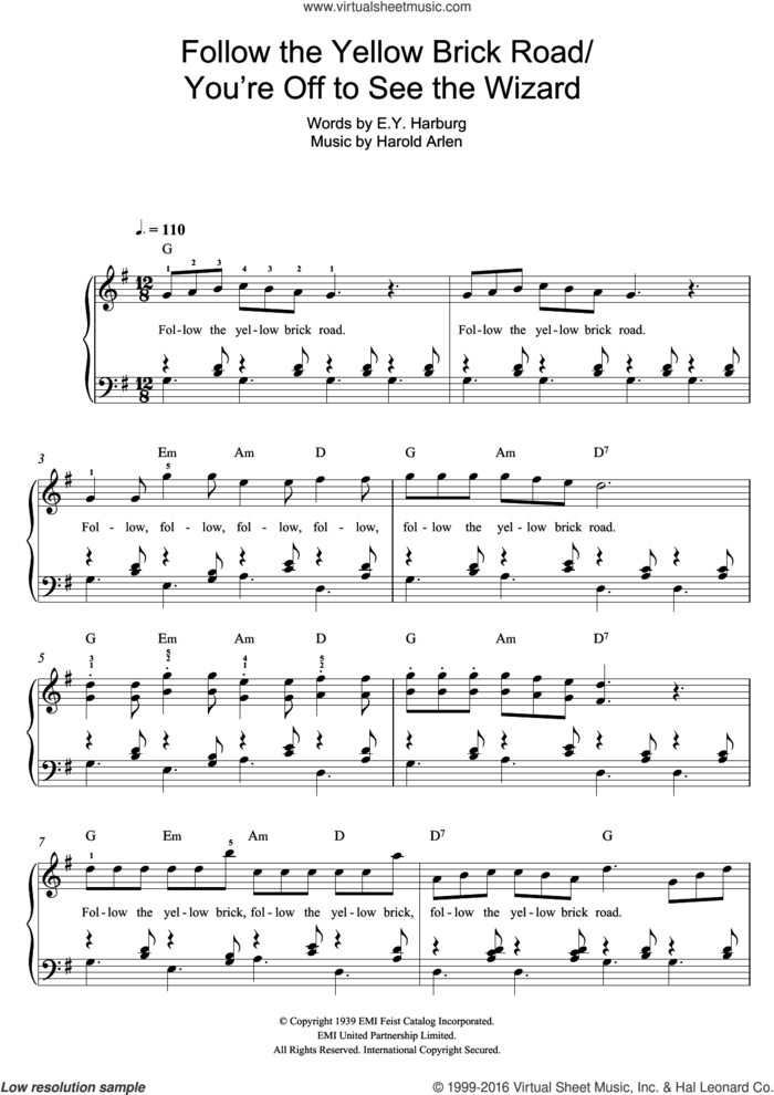 Follow The Yellow Brick Road sheet music for piano solo by Harold Arlen and E.Y. Harburg, easy skill level