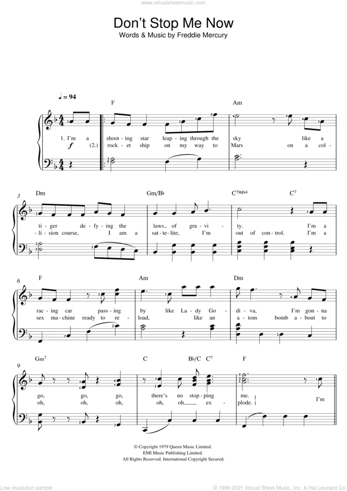 Don't Stop Me Now sheet music for voice and piano by Queen and Freddie Mercury, intermediate skill level