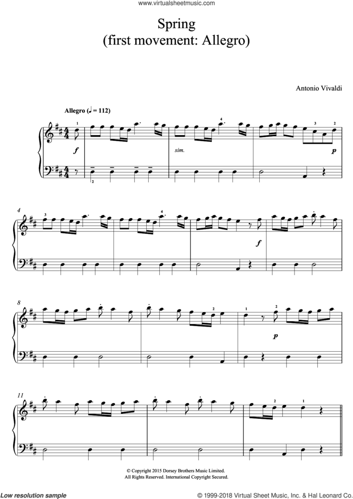 Spring (from The Four Seasons) sheet music for piano solo (beginners) by Antonio Vivaldi, classical score, beginner piano (beginners)