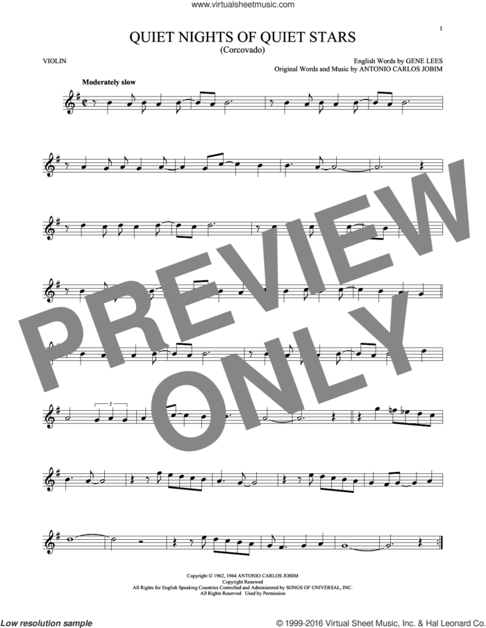 Quiet Nights Of Quiet Stars (Corcovado) sheet music for violin solo by Andy Williams, Antonio Carlos Jobim and Eugene John Lees, intermediate skill level