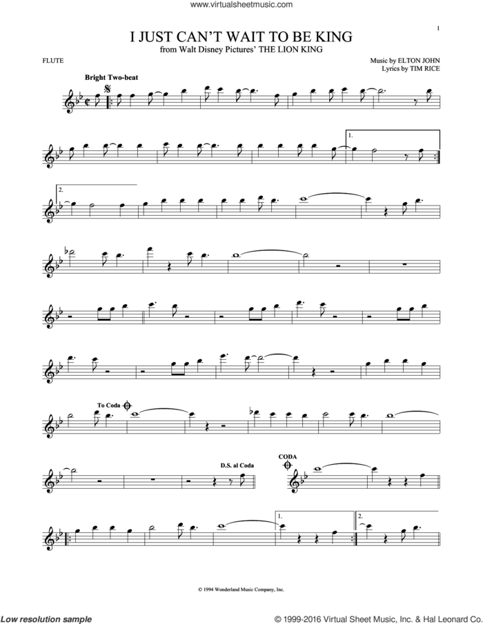 I Just Can't Wait To Be King sheet music for flute solo by Tim Rice and Elton John, intermediate skill level