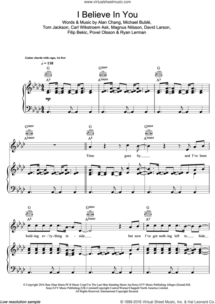 I Believe In You sheet music for voice, piano or guitar by Michael Buble, intermediate skill level