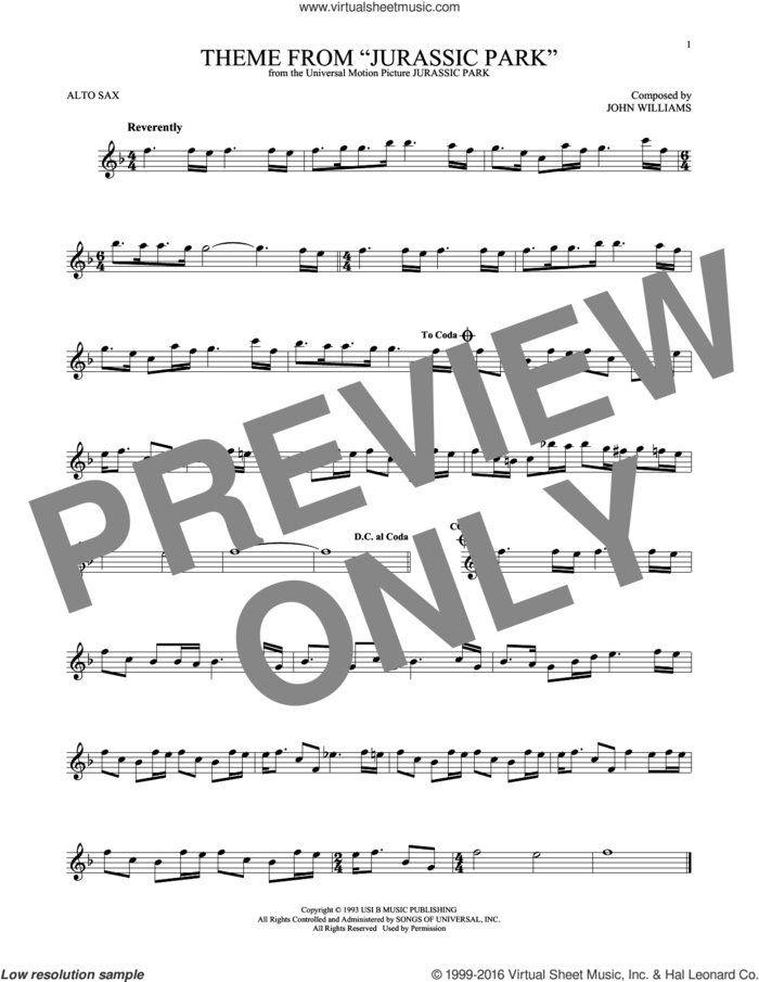 Theme From Jurassic Park sheet music for alto saxophone solo by John Williams, intermediate skill level