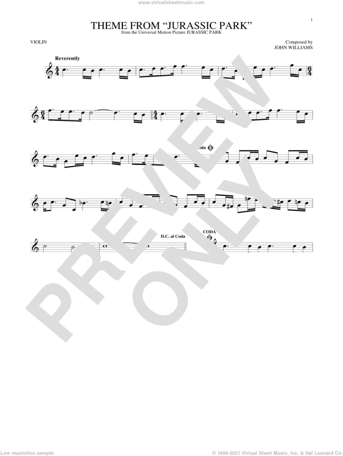 Theme From Jurassic Park sheet music for violin solo by John Williams, intermediate skill level
