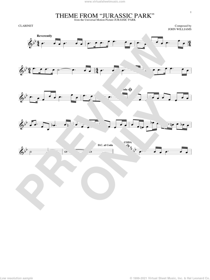 Theme From Jurassic Park sheet music for clarinet solo by John Williams, intermediate skill level
