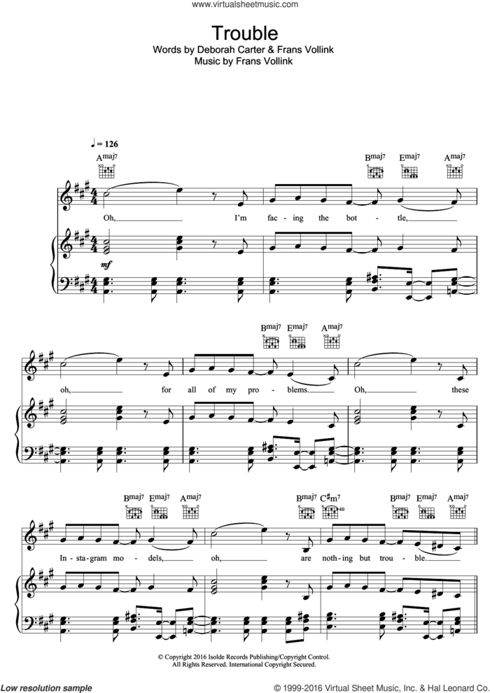Trouble sheet music for voice, piano or guitar by offaiah, intermediate skill level