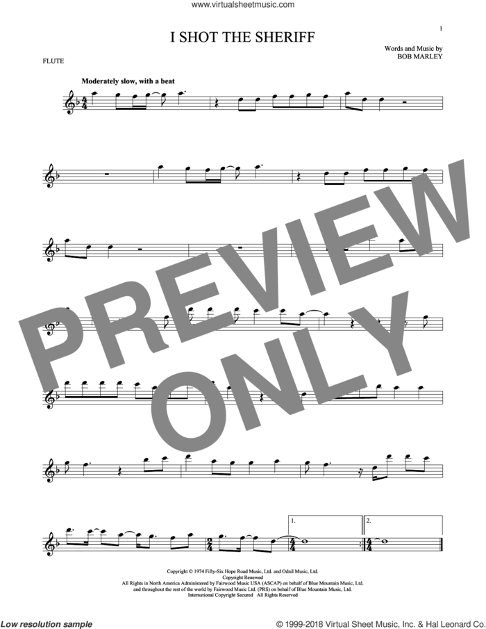I Shot The Sheriff sheet music for flute solo by Bob Marley, Eric Clapton and Warren G, intermediate skill level
