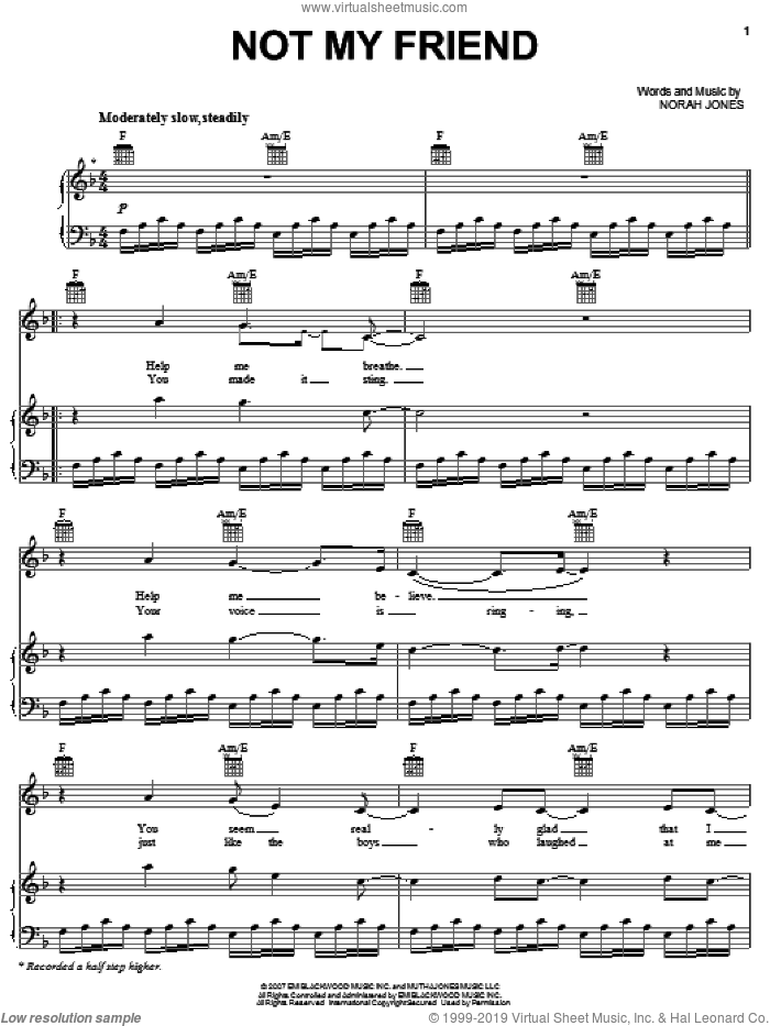Not My Friend sheet music for voice, piano or guitar by Norah Jones, intermediate skill level