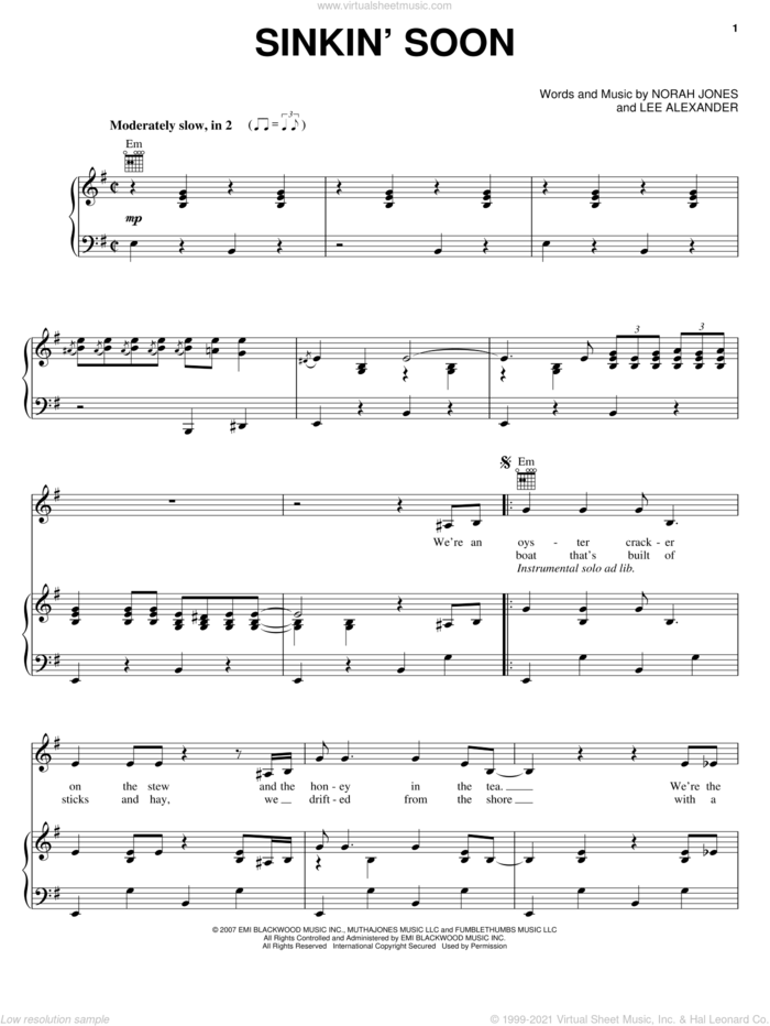 Sinkin' Soon sheet music for voice, piano or guitar by Norah Jones and Lee Alexander, intermediate skill level