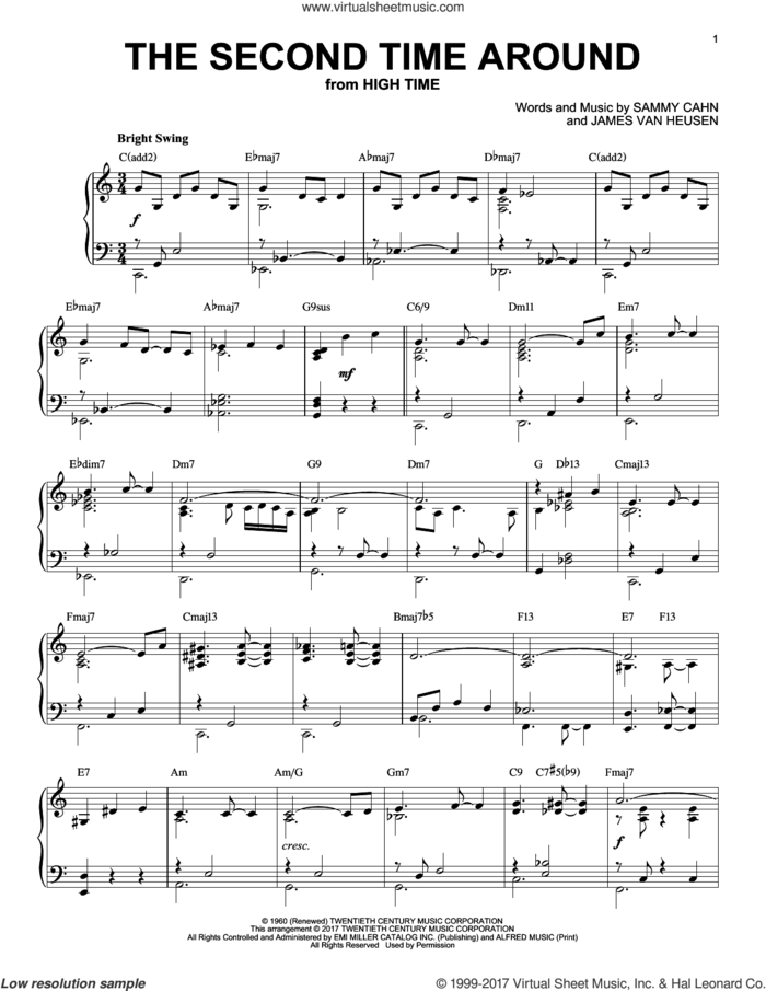 The Second Time Around [Jazz version] sheet music for piano solo by Sammy Cahn and Jimmy van Heusen, intermediate skill level