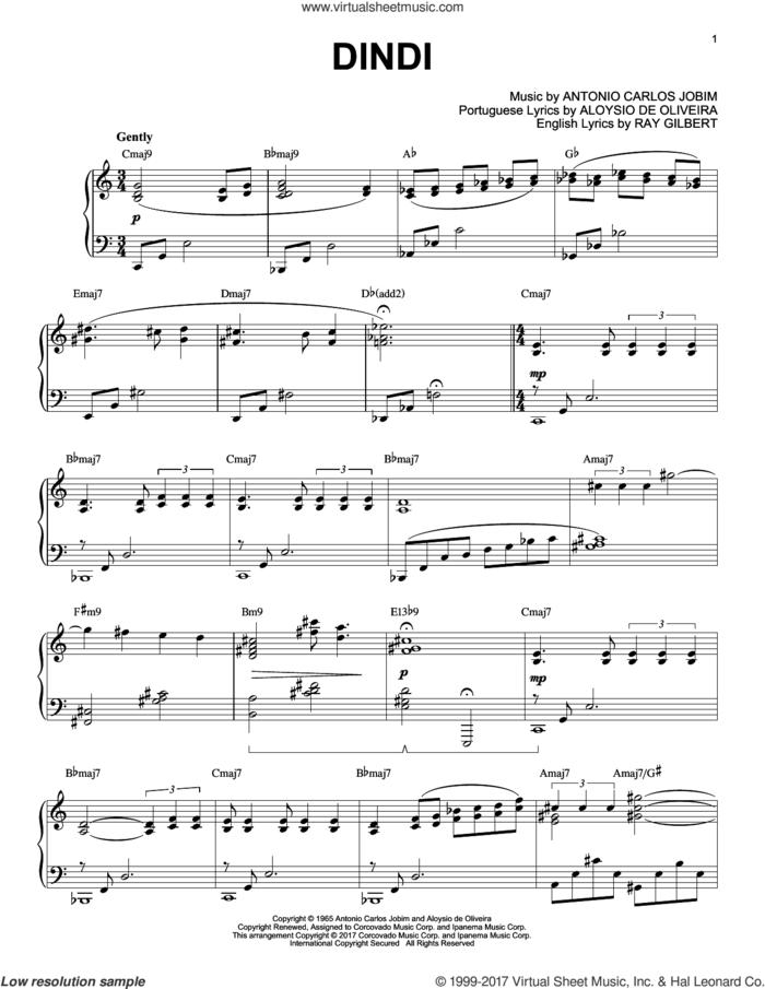 Dindi, (intermediate) sheet music for piano solo by Antonio Carlos Jobim, Aloysio de Oliveira and Ray Gilbert, intermediate skill level