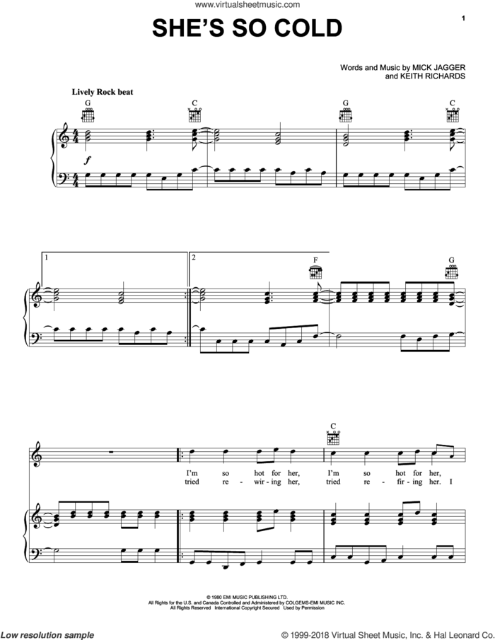 She's So Cold sheet music for voice, piano or guitar by The Rolling Stones, Keith Richards and Mick Jagger, intermediate skill level