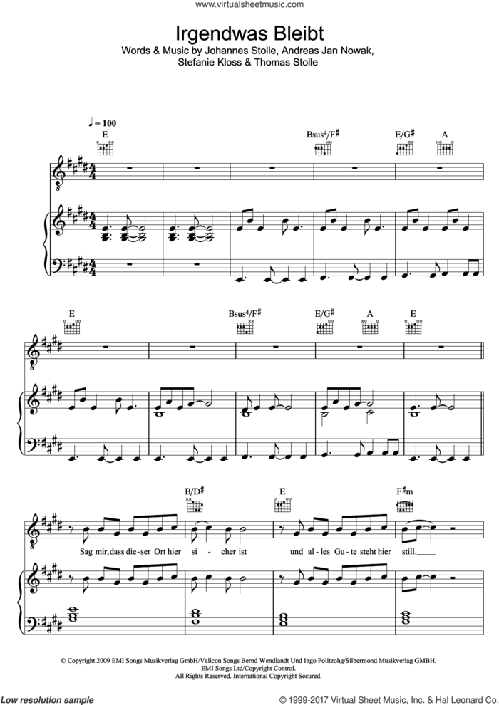 Irgendwas Bleibt sheet music for voice, piano or guitar by Silbermond, intermediate skill level