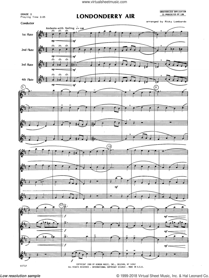Londonderry Air (COMPLETE) sheet music for flute quartet by Ricky Lombardo and Miscellaneous, classical score, intermediate skill level
