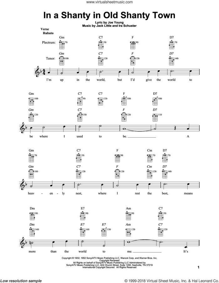 In A Shanty In Old Shanty Town sheet music for banjo solo by Ira Schuster, Joe Young and Little Jack Little, intermediate skill level