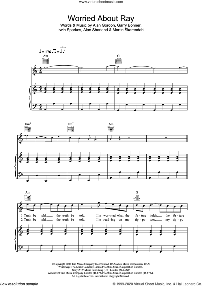 Worried About Ray sheet music for voice, piano or guitar by The Hoosiers, Alan Gordon, Alan Sharland, Garry Bonner, Irwin Sparkes and Martin Skarendahl, intermediate skill level