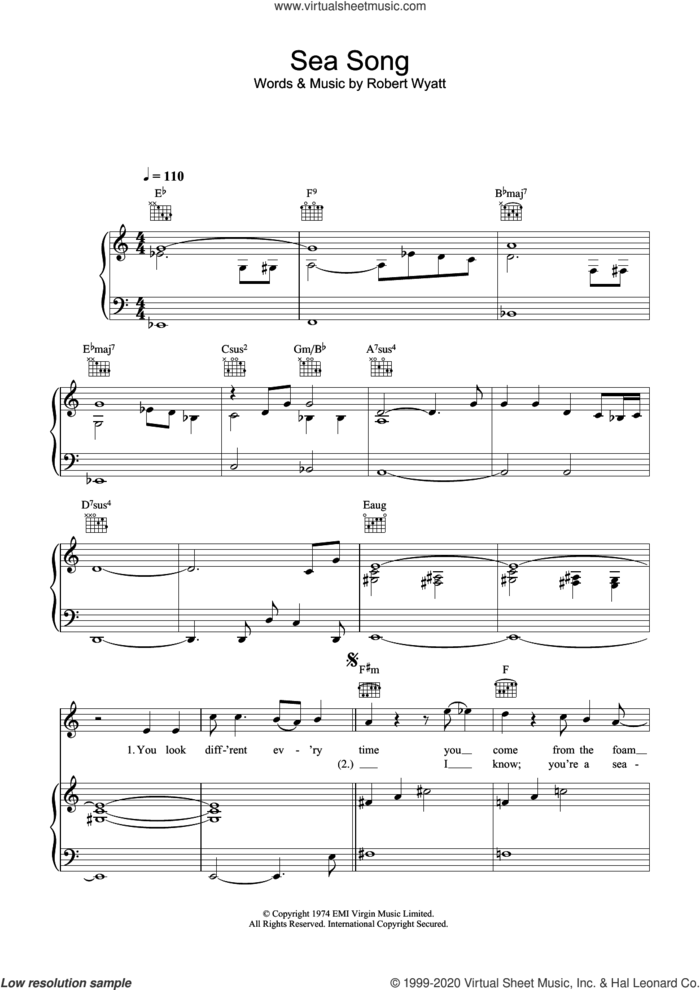 Sea Song sheet music for voice, piano or guitar by Robert Wyatt, intermediate skill level