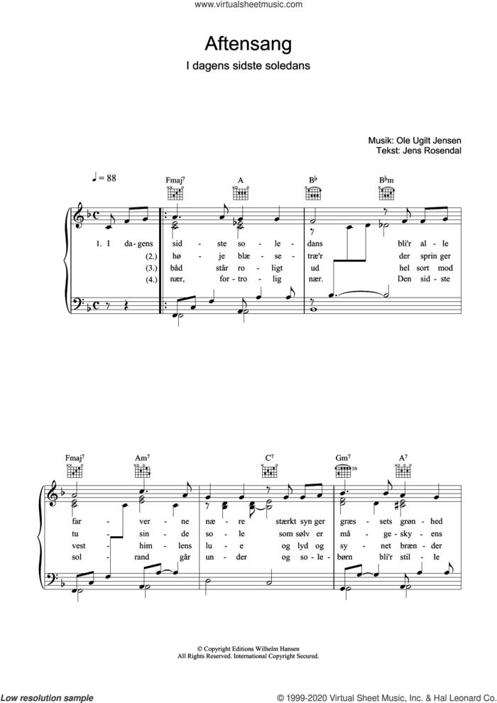 Aftensang I Dagens Sidste Soledans sheet music for voice, piano or guitar by Ole Ugilt Jensen and Jens Rosendal, intermediate skill level