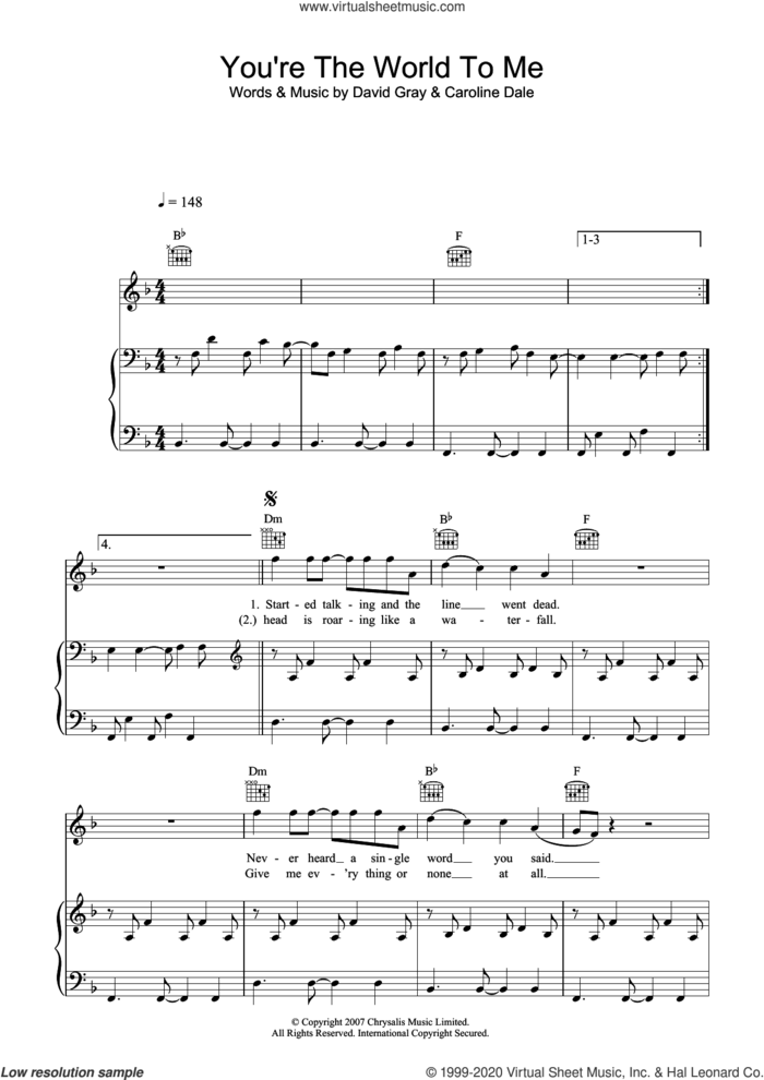 You're The World To Me sheet music for voice, piano or guitar by David Gray and Caroline Dale, intermediate skill level